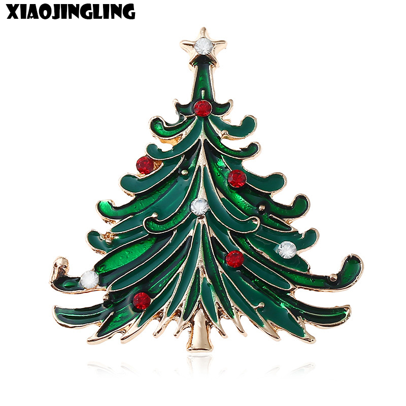 XIAOJINGLING 2017 Fashion Christmas Brooch Dripping Crystal Green Christmas Tree Brooches For Women Scarf Sweater Jewelry Gifts