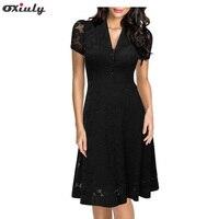 Oxiuly Women 2017 Summer Hepburn Vintage Black Lace Dress 50s Rockabilly Dresses Slim Elegant Evening Party
