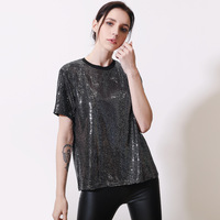 Summer 2019 New Women's Gold Silver Sequins T Shirt O neck Loose Glistening Short Sleeves