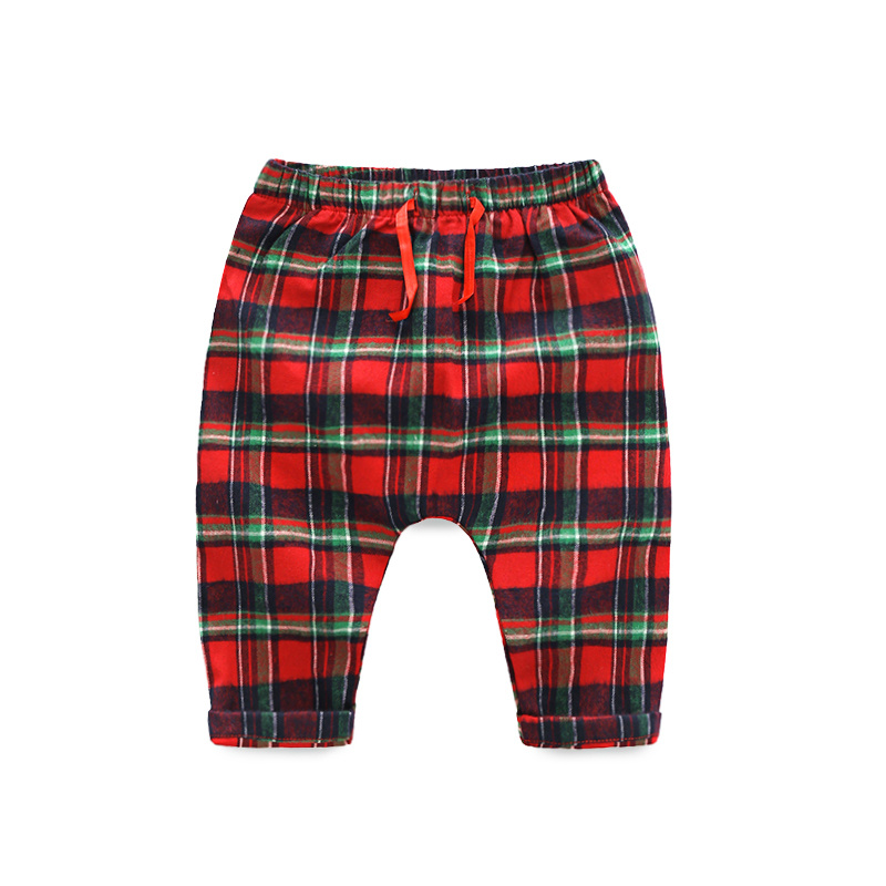 Cotton Pants Trousers Newborn Baby-Boys Casual Girls Infant Plaid Spring Tem Elastic-Waist