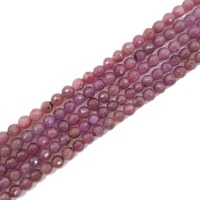 Lii Ji Gemstone Natural Red Ruby Approx 5mm Faceted Round Beads 39cm For DIY Jewelry Making