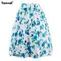 Tonval Verano Faldas Para Mujer Floral de La Vendimia Oscilación Falda Plisada Saias faldas Chicing Flores Faldas Hasta La Rodilla