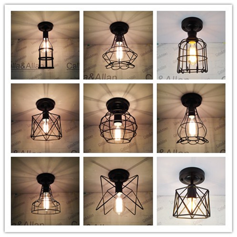 New Edison 9 sizes of Iron cage black Vintage Ancient Ceiling Lamp Bulb Light Fitting Cage Cafe Lampshade Lamp fixture loft vintage edison glass light ceiling lamp cafe dining bar club aisle t300