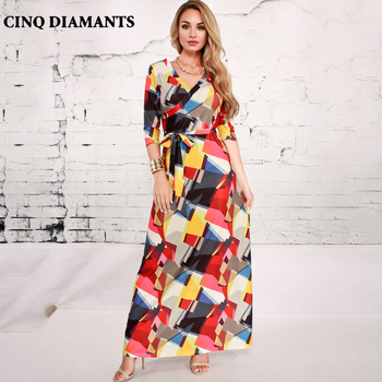 CINQ DIAMANTS Women Elegant Maxi Dress Casual Hit Color Long Dress Female Gown Clothing Robe Femme Vestido Largo