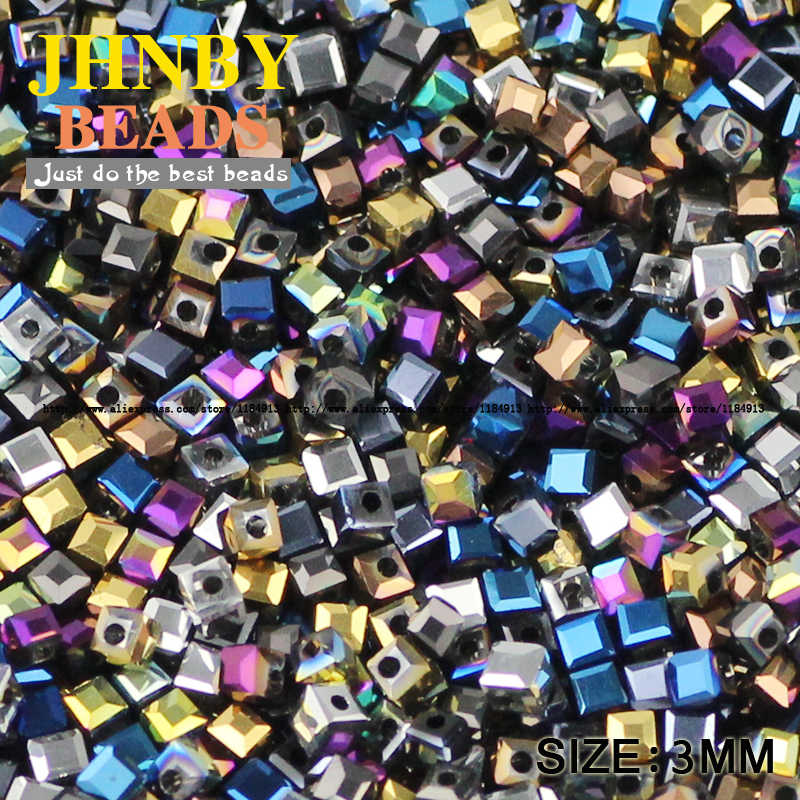 JHNBY Square shape Austrian crystal beads High quality quadrate 3MM 100pcs Plating glass Loose beads Jewelry bracelet making DIY