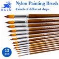 Нейлоновая кисть для масляной краски BGLN  13 шт./компл.  круглая  заостренная  плоская  наклонная  масляная Акварельная акриловая живопись