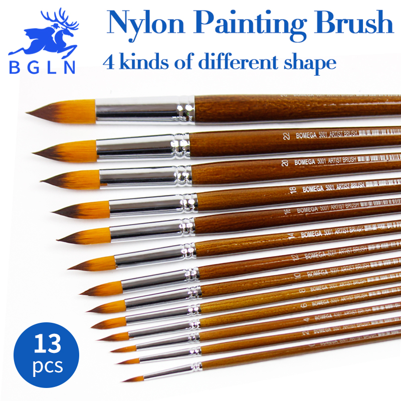 BGLN 13Pcs/set Nylon Hair Oil Paint Brush Round Pointed Flat Oblique Paint Brushes Artist For Oil Watercolor Acrylic Painting bgln 12pcs set bristle hair flat oil painting brush mix size solid wood pole artist oil acrylic paint brush art supplies