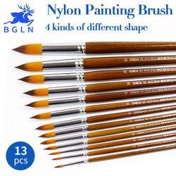 Bgln 13 pçs/set escova de pintura a óleo de cabelo de náilon redondo apontado plana oblíqua pincéis artista para pintura a óleo aquarela acrílico
