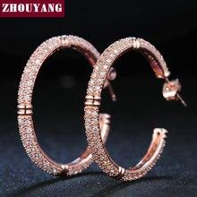 ZHOUYANG ZYE617 серьги-кольца с мозаикой из кристаллов цвета розового золота, ювелирные изделия из настоящего австрийского хрусталя