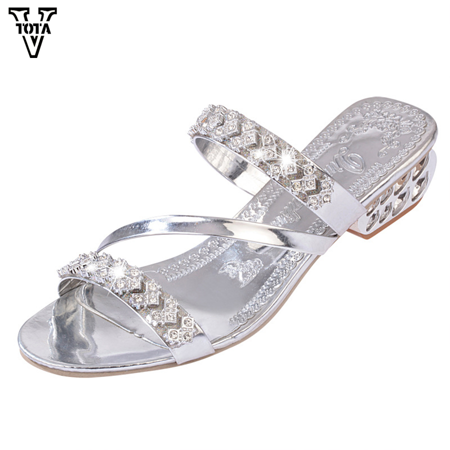 VTOTA Fashion Rhinestone Summer Shoes Woman Wedges Casual shoes Flip Flops Platform Sandals Women Zapatos Mujer Plus Size 35-41 lanshulan bling glitters slippers 2017 summer flip flops shoes woman creepers platform slip on flats casual wedges gold