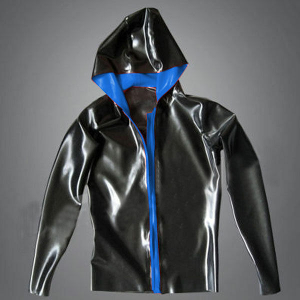 Latex Rubber 100% Gummi Tops Hoodie Jacket Navy Blue With Black Man XXL