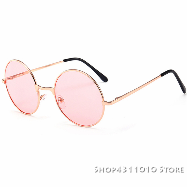 163a61872 Vintage Round Sunglasses Women Ocean pink yellow Lens Mirror Sunglasses  Female Brand Rose Gold Metal Frame Circle Glasses UV400