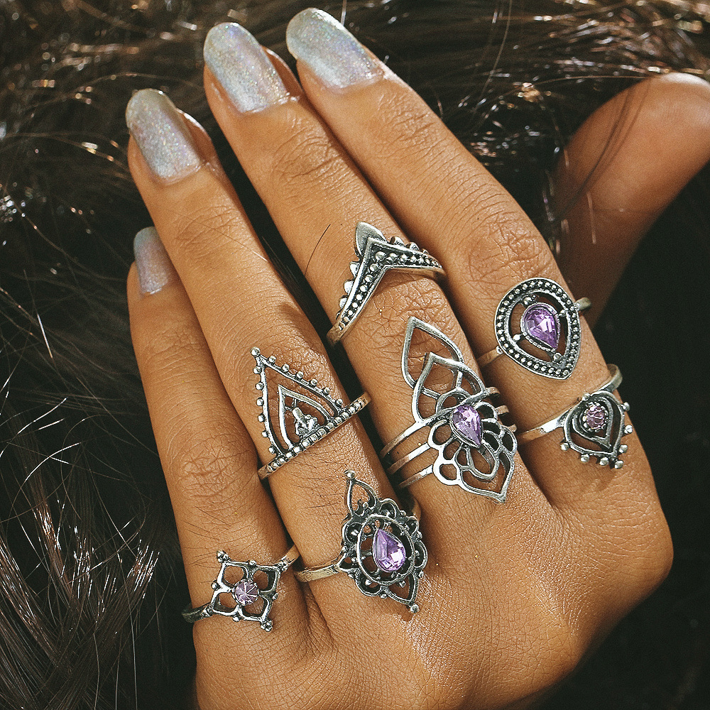 7 pcs/Set Antique Silver Color Midi Rings Set For Women Bohemian Hollow Flower Knuckle Finger Crystal Ring Jewelry Accessories