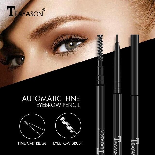 Teayason Double Ended Super Slim Eyebrow Pencil & Eyebrow Brush Waterproof Long Lasting Black Brown Eyebrow Tatoo Pen Cosmetics 4
