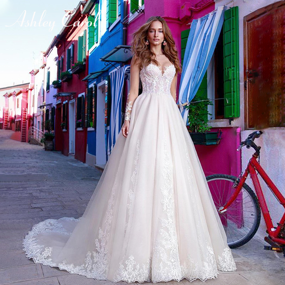 Ashley Carol Sexy Sweetheart Illusion Backless Long Sleeve Wedding Dress 2019 New Arrival Bride Dresses Appliques Wedding Gowns