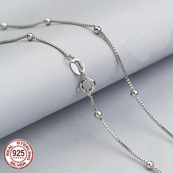 100% real pure 925 Sterling Silver box chain with balls necklaces for Women,925 sterling silver / gold women necklace