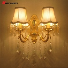 Free Shipping Modern Crystal wall light fashion  wall bracket crystal k9 Golden Modern wall lamps crystal golden Luxury sconce