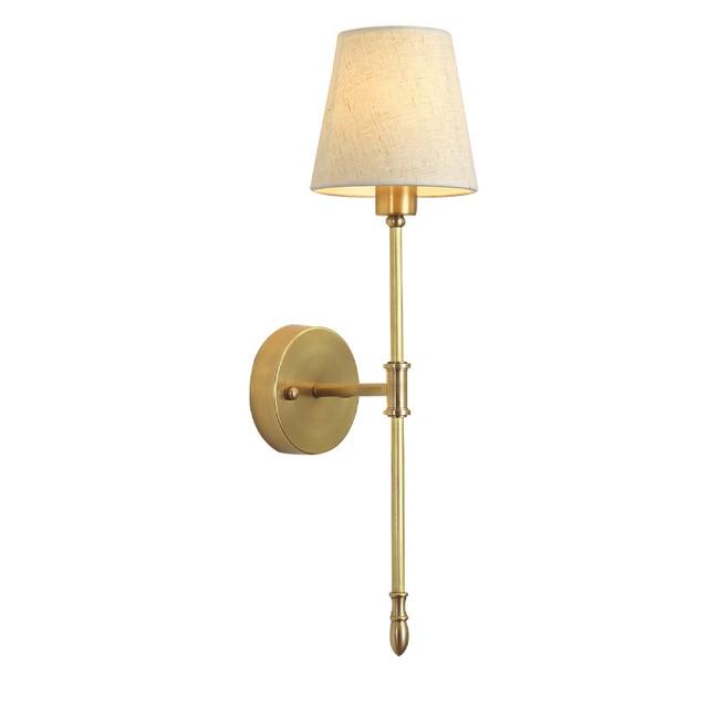 2 מנורת נחושת מנורת קיר מודרני מינימליסטי סלון מרפסת חדר שינה מנורה שליד המיטה זרוע אחת מעבר אמריקאי נחושת קיר אור