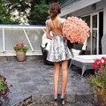 Prata de lantejoulas backless vestidos curtos prom cap vestidos de mangas sparkly curto hoco dress
