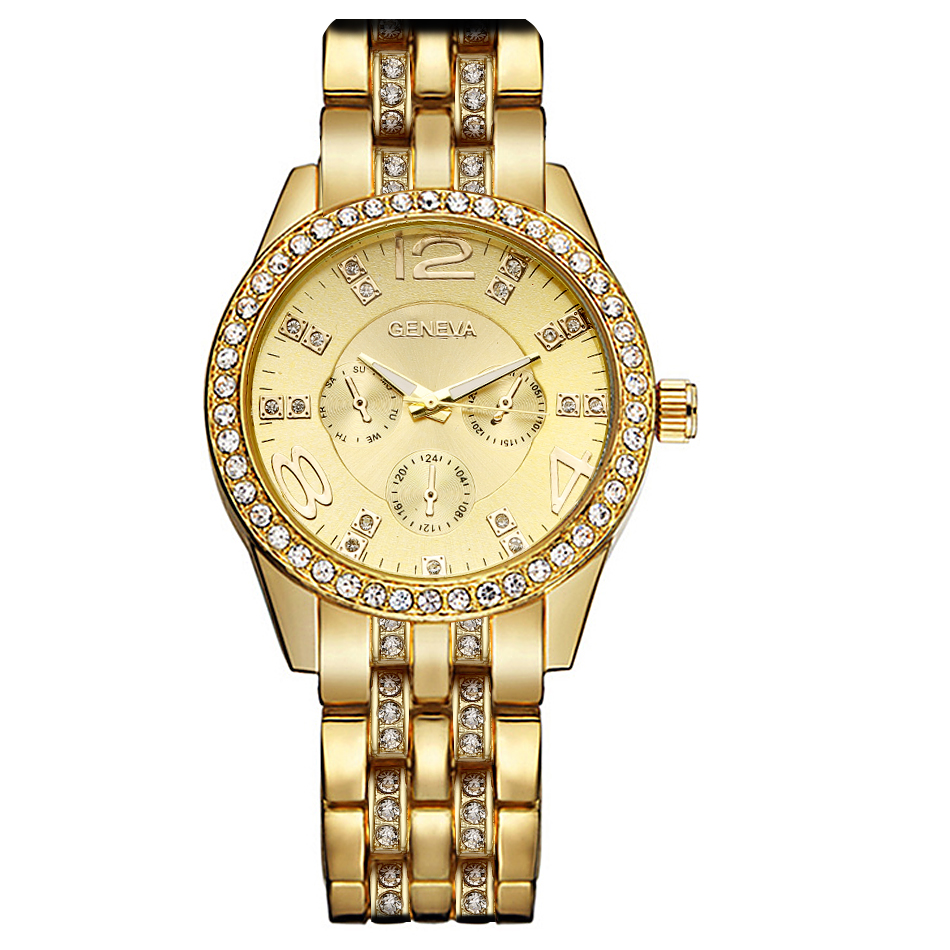 High Quality Watches Luxury Stainless Steel Watch Women Gold Geneva Casual Quartz Wrist Watch Unisex Watches relogio feminino mce luxury fashion gold watch women high quality skeleton mechanical watch full stainless steel water resistant wrist watches