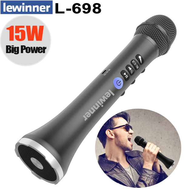 Lewinner L-698 Wireless Karaoke Microphone Bluetooth Speaker 2-in-1 Handheld Sing & Recording Portable KTV Player for iOS/Androi