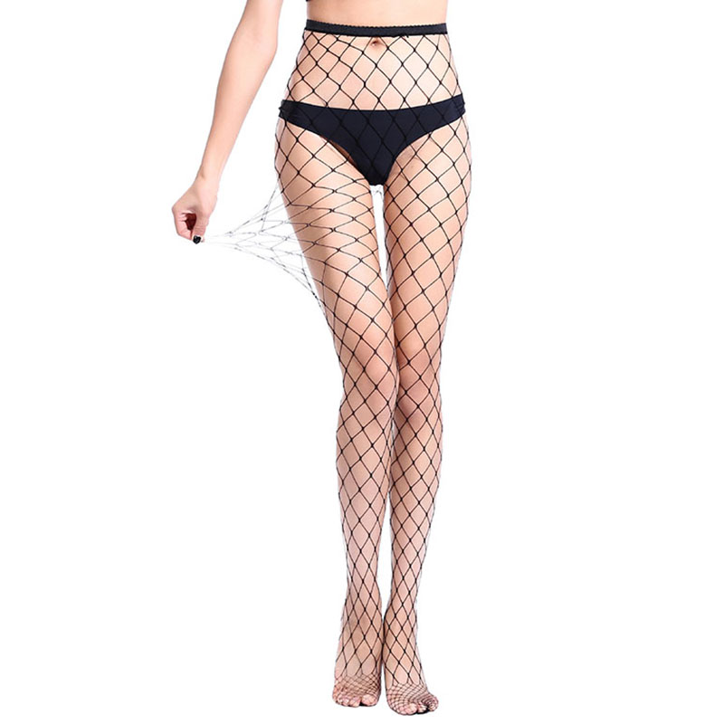 Hot Selling Womens Long Sexy Fishnet Stockings Black Elastic Pantyhose Mesh Stockings Lingerie Thigh High Stocking WW24