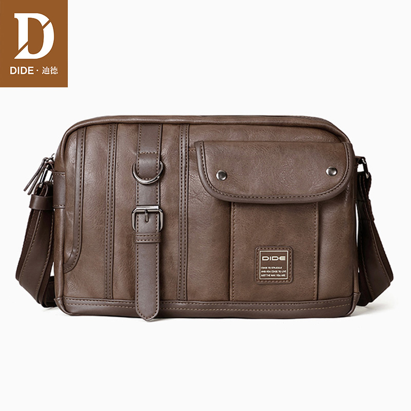 цена DIDE Vintage Brand Leather Men Bag Casual Business Leather Mens Messenger Bag Fashion Men's Crossbody Bag designer waterproof