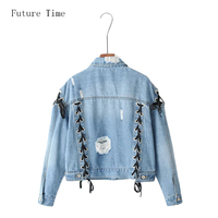 Future Time Vintage Fashion Ripped Denim Jackets 2017 Autumn Women Lace Up Solid Jacket Jaqueta Jeans