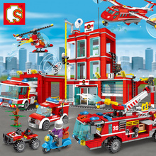 EQ Building Blocks Fire Fighting Trucks Car Helicopter Boat City Firefighter Figures Toys Educational Toys For Children недорого