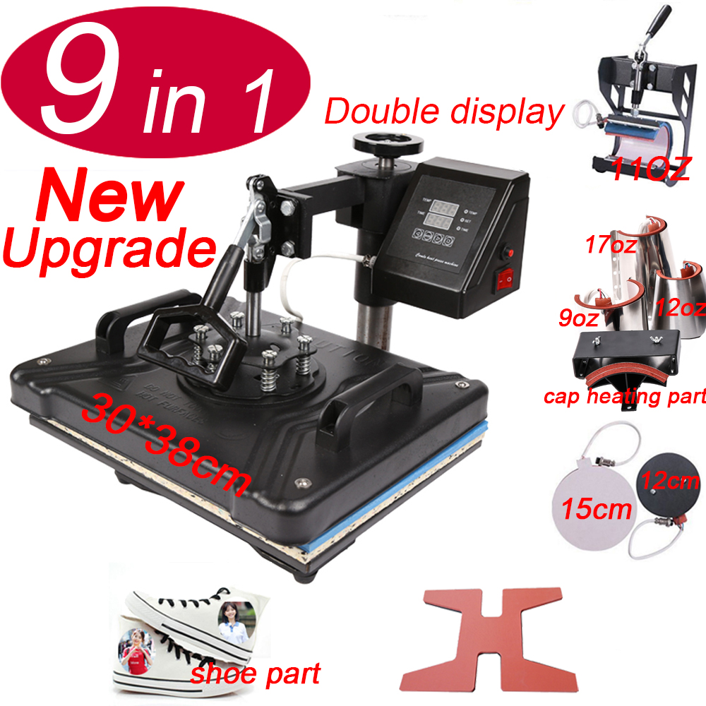 Double Display 9 In 1 Heat Shoe Press Machine,Sublimation Printer/Transfer Machine Heat Press For Mug/Cap/T Shirt/shoe/bottle