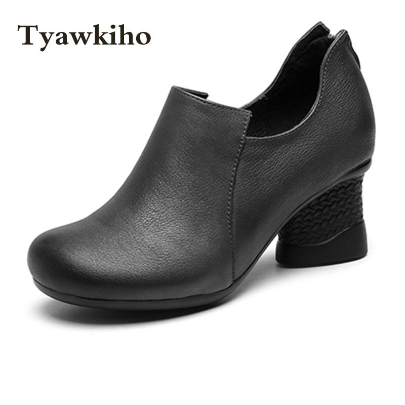 Tyawkiho rabat Handmade wiosna damskie botki brązowy marka prawdziwej skóry 5 CM wysoki obcas czarne zestaw butów wygodne w Buty do kostki od Buty na  Grupa 3