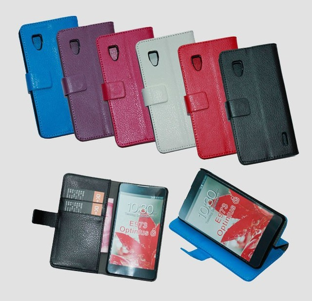 free shipping High Quality Lychee PU Flip Cover leather wallet Case for LG Optimus G LS970 E971 E973 E975 with Card Holder