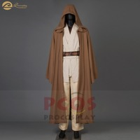New Star Wars ramie cotton&leather Jedi RP Wan Obi Wan Kenobi hooded Cosplay Halloween hoodies Cloak Costume for men mp003184