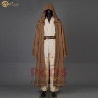 New Star Wars ramie cotton&leather Jedi RP Wan Obi Wan Kenobi hooded Cosplay Halloween hoodies Cloak Costume for men mp003184