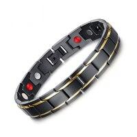 8.5 inch Top Chất Lượng Y Tế Men Bracelet Bangle 316L Thép Không Gỉ Từ Chăm Sóc Sức Black & Gold Tấm