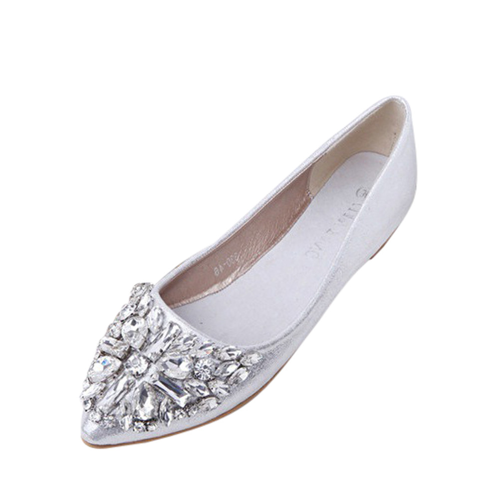 Women's Pointed Toe Ladise Shoes Casual Rhinestone Low Heel Flat Shoes Female tenis feminino Girls Fashion Flats A8 shoes men leather 2017 ms casual shoes low help white black flat leisure fashion female superstar shoes tenis feminino mujer