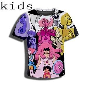 LIASOSO t-shirt 3D print Men women Anime streetwear t shirt Harajuku KIDS Steven Universe tshirt children set Short Sleeve E560(China)