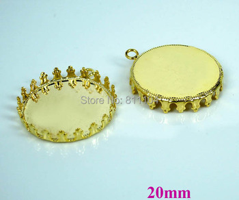 20mm New Gold tone Plated Copper Round Crown Bezel w/ a Loop Cabochon Settings Pendant Findings DIY Jewelry Making Wholesale