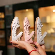 AFDSWG spring and autumn leather hollow low heel pink moccasins kids white girls princess shoes blue for school girl