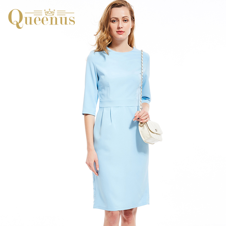 Queenus Women Autumn Winter Dress Round Neck Three Quarter Sleeve Day Dress Lady Elegant Split Slim