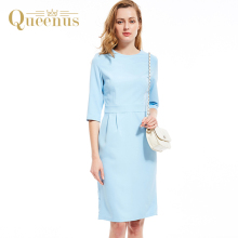 Queenus Women Autumn Winter Dress Round Neck Three Quarter Sleeve Day Dress Lady Elegant Split Slim Light Blue Women Dresses