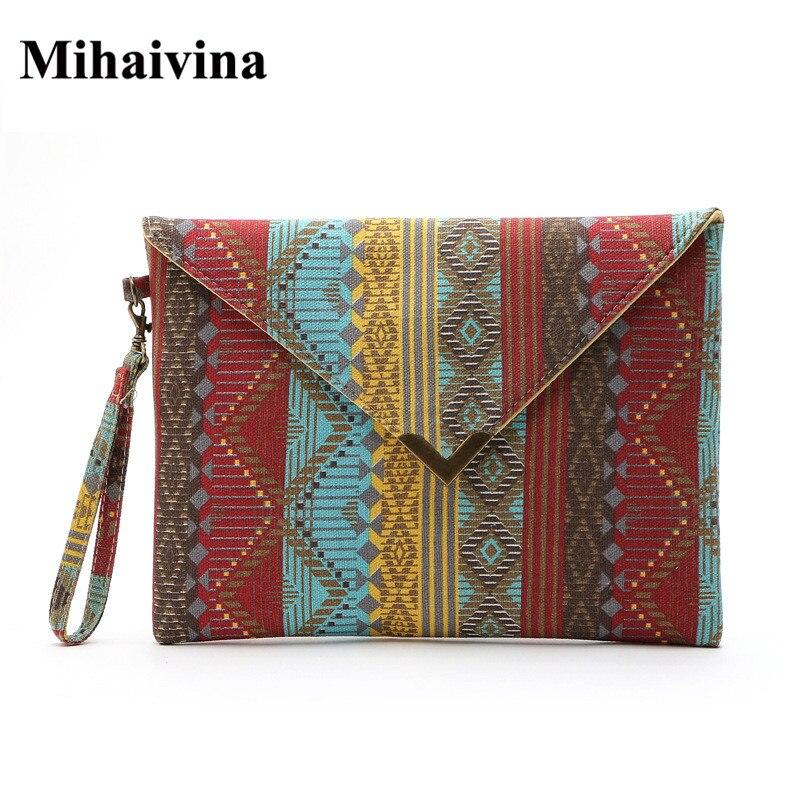 Leinwand Gestreifte Tasche Geometrisches Muster Nationalen Frauen - Handtaschen