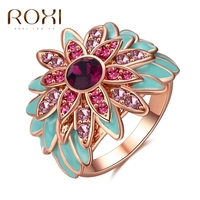 ROXI Fashion Women Lady Rings Sunflower Nation Jewelry New Exquisite White Rose Gold Plated Finger Ring