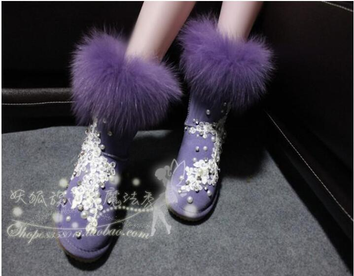 Exclusive design European station fur hand-drilled lace exclusive fantasy purple increased snow boots Exclusive design European station fur hand-drilled lace exclusive fantasy purple increased snow boots