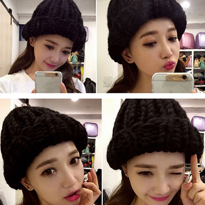Women Winter Hat  New Handmade Warm Knitted Coarse Lines Cable Hats Knit Cap Beanie Crochet Caps Women Knitted Hat