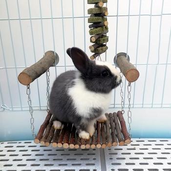 Rabbit Hamster Hammock Wooden Branch Hamster Rabbit Bed Chinchilla Swing Squirrel Guinea Pig Pedal Small Pet Toy Molar Supplies 5