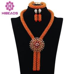 Gorgeous Coral Nigerian African Beads Jewelry Set Dubai Gold Wedding Jewelry Set Wholesale Price Beads Set Free shipping WB747