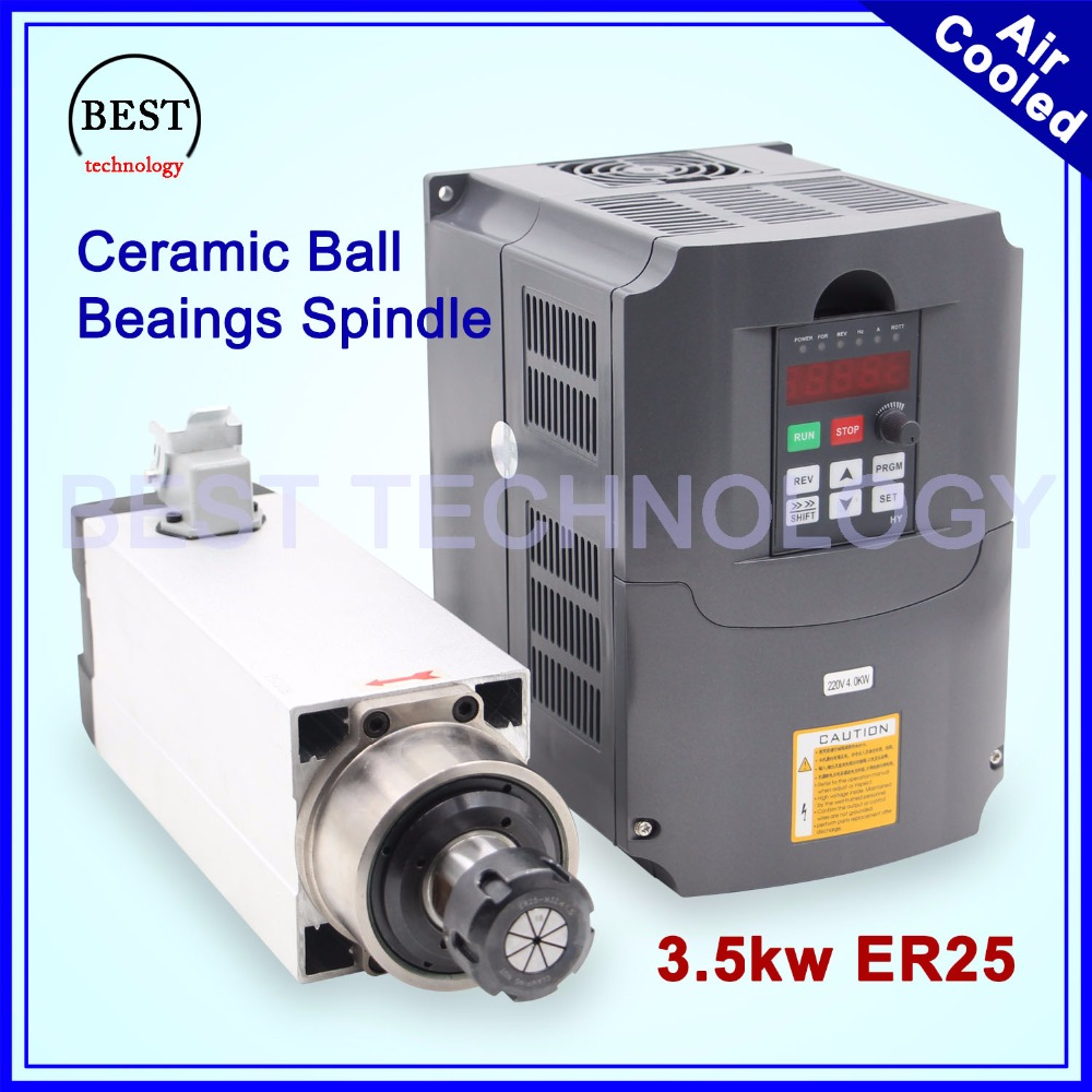 New Arrival ! 3.5kw ER25 220v 380v air cooled spindle motor square spindle ceramic ball bearings 0,01mm accuracy & 4kw inverter high quality ceramic bearings 3 5kw 380v air cooled spindle motor er20 and 4kw vfd inverter
