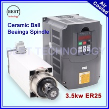 New Arrival ! 3.5kw ER25 220v 380v air cooled spindle motor square spindle ceramic ball bearings 0,01mm accuracy & 4kw inverter