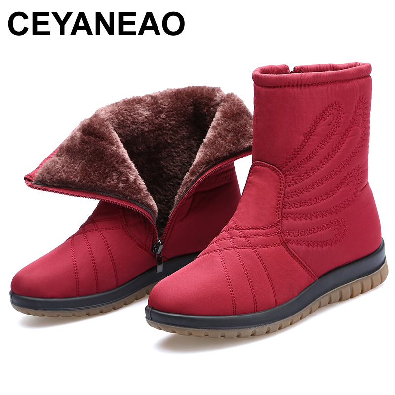 CEYANEAO2018 New Women Luxury Waterproof Boots Mar Ankle Boots New Autumn Winter Embroider Womens Motorcycle Boots E764